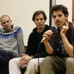 Bei der unibrennt-Diskussion: die Filmemacher Samuel Traber, Emanuel A. Huber und Manfred Rainer (v.r.)